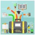 Vector Back to school and flat design modern School Supplies illustr