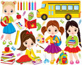 Vector Back to School Set with Cute Little Girls, Bookworm and School Stationery Royalty Free Stock Photo