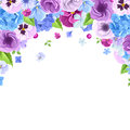 Vector background with blue and purple flowers.