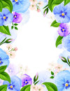 Vector background with blue and purple pansy flowers.