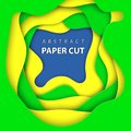 Vector background with brazilian flag colors paper cut shapes. Royalty Free Stock Photo