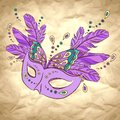 Vector background with carnival mask on craft paper Royalty Free Stock Photos