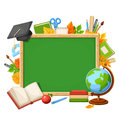 Vector background with chalkboard and school supplies.