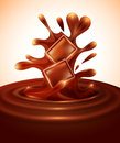 Vector background with chocolate pieces falling into melted Royalty Free Stock Photography