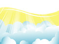 Vector background with clouds and sun rays Royalty Free Stock Images