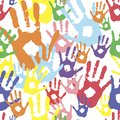 Vector background, color prints of hands symbolizes friendship. colored palms in paint