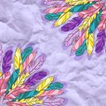 Vector background with colored feathers on craft paper eps Royalty Free Stock Photography