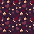 Vector background with crowns stars and hearts seamless Royalty Free Stock Photo