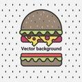 Vector background, delicious burger.