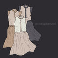 Vector background with dresses illustration Royalty Free Stock Images