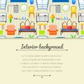 Vector background with elements furniture in realistic style horizontally space for text Stock Images