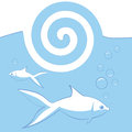 Vector background with fishes blue Royalty Free Stock Photo