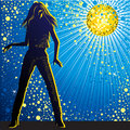 Vector background with girl dancing in night-club Royalty Free Stock Photo