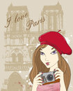 Vector background with girl photographer in paris Stock Photos
