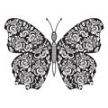 Vector background Hand drawn butterfly. Black and white Royalty Free Stock Photo