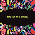 Vector background of makeup and beauty cosmetic symbols frame illustration Stock Photography