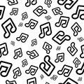 Vector background with musical notes. Seamless pattern for wallpaper or wrapping paper.