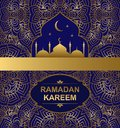Vector background with an ornament and a silhouette Islamic mosque. Holy month of muslim community Ramadan Kareem background illus