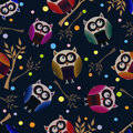 Vector background with owls illustration Royalty Free Stock Photography
