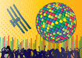 Vector background with people and dancing ball Stock Photos
