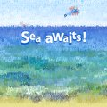 Vector background seascape text composition sea landscape with parasailing Royalty Free Stock Images