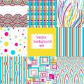 Vector background set with circle and stripes Stock Photo
