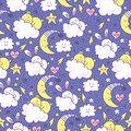 Vector background with sleeping bunny and bears, moon, hearts, clouds and stars.