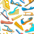 Vector background with summer women shoes