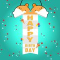 Vector background template of celebration event open congratulation ball hamster shape Royalty Free Stock Photo