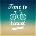 Vector background time to travel bicycle with typography Stock Image