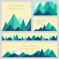 Mountains in low poly style. Set of stylish outdoor card templates.