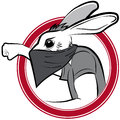Vector badge with protestor man rabbit illustration Stock Images