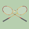 Vector badminton set. Classic wooden racquets rackets and a shuttlecock. Royalty Free Stock Photo