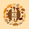 Vector bakery shop poster design template with bread, sweet bun, cookies, croissant, cake, donut