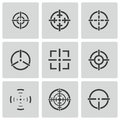 Vector balck crosshair icons set white background Royalty Free Stock Photography