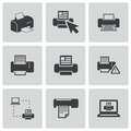 Vector balck printer icons set this is file of eps format Stock Photo