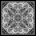 Vector bandana print with paisley ornament. Cotton or silk headscarf, kerchief square pattern design, oriental style