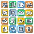 Vector bank flat icons on white background Royalty Free Stock Photo
