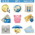 Vector bank icons set on white background Stock Photography