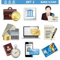 Vector bank icons set on white background Royalty Free Stock Photo