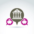 Vector banking symbol financial institution icon speech bubble bubbles with bank building and pink piggybank illustrations Stock Photos
