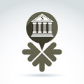 Vector banking symbol revenue sources concept speech bubbles with bank building and dollar currency Stock Images