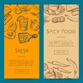 Vector banner or flyer template with mexican food elements Royalty Free Stock Photo