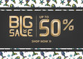 Vector banner with gold lettering big sale up to fifty percent shop now and funky fish Royalty Free Stock Photo