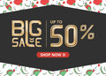 Vector banner with gold  lettering big sale up to fifty percent shop now and red poppy Royalty Free Stock Photo