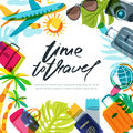 Vector banner, poster or flyer design template with palm leaves, plane, luggage and calligraphy lettering. Royalty Free Stock Photo