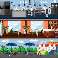 Vector banner with restaurant interiors. Kitchen, dining room and street cafe. Illustration in flat design Royalty Free Stock Photo