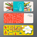 Vector banner set in doodle style with ideas symbols