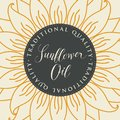 Vector banner for sunflower oil with inscription Royalty Free Stock Photo