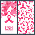 Vector banner template and seamless pattern for breast cancer october awareness month.